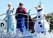 Disney characters of animation movie Frozen perform on a float during the new parade 'Anna and Elsa's Frozen Fantasy' at Tokyo Disneyland in Urayasu...