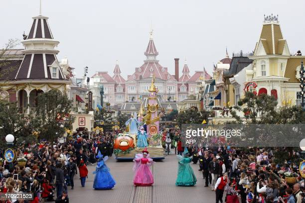 Disney characters parade during the 20th birthday celebrations of Disneyland park in Chessy near MarnelaVallee outside Paris on March 31 2012 AFP...