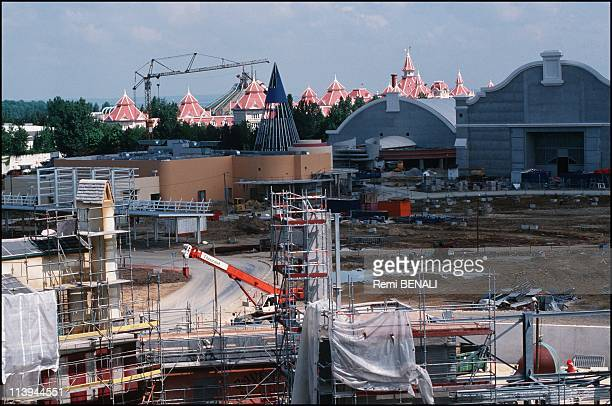 'Disney Studios' take one lights camera action In Marne la Vallee FranceConstruction of a giant model of the conical hat worn by Mickey in 'Fantasia'...