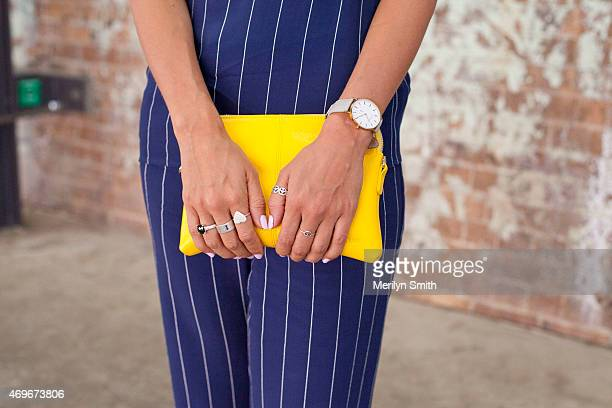 Disney TV Presenter Teigan Nash wears a Bec and Bridge jumpsuit and Elms and King bag at MercedesBenz Fashion Week Australia 2015 at Carriageworks on...