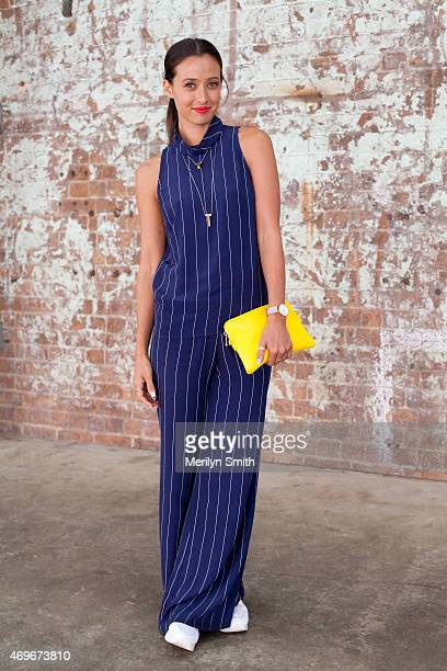 Disney TV Presenter Teigan Nash wears a Bec and Bridge jumpsuit Elms and King bag and Windsor Smith shoes at MercedesBenz Fashion Week Australia 2015...