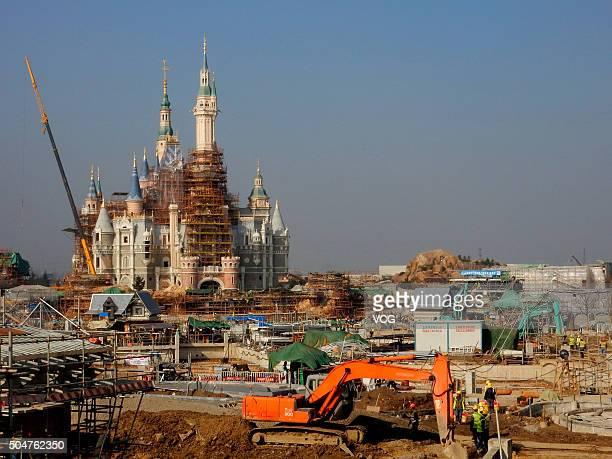 Disneyland is under construction on December 26 2015 in Shanghai China Shanghai Disneyland would open on Children's Day of 2016