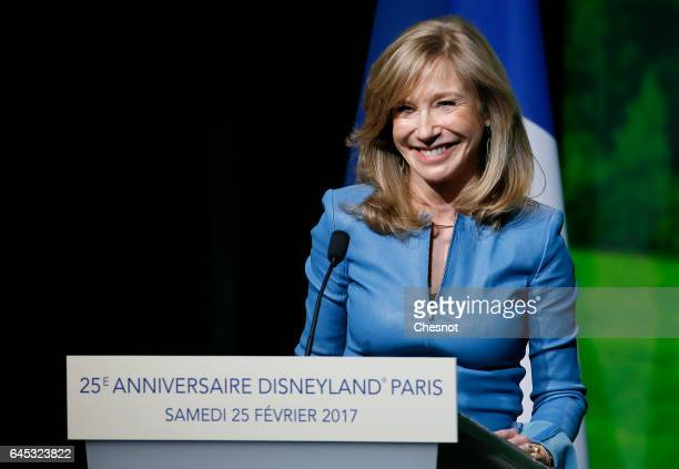 Disneyland Paris President Catherine Powell delivers a speech during a ceremony marking the 25th anniversary of Disneyland Paris in MarneLaVallee on...