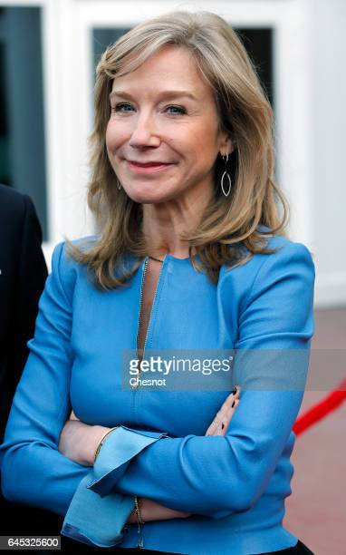 Disneyland Paris President Catherine Powell poses before the arrival of the French president ahead of a ceremony marking the 25th anniversary of...