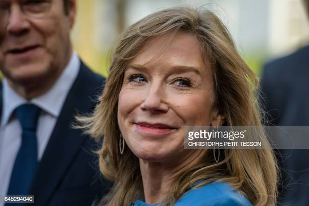 Disneyland Paris president Catherine Powell smiles ahead of a ceremony marking the 25th anniversary of Disneyland Paris in MarneLaVallee east of...