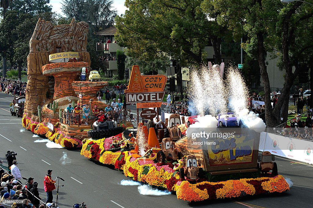 Disney's 'Destination: Cars Land' approaches the grandstands at the 124th annual Rose Parade themed 'Oh, the Places You'll Go!' on January 1, 2013 in Pasadena, California.