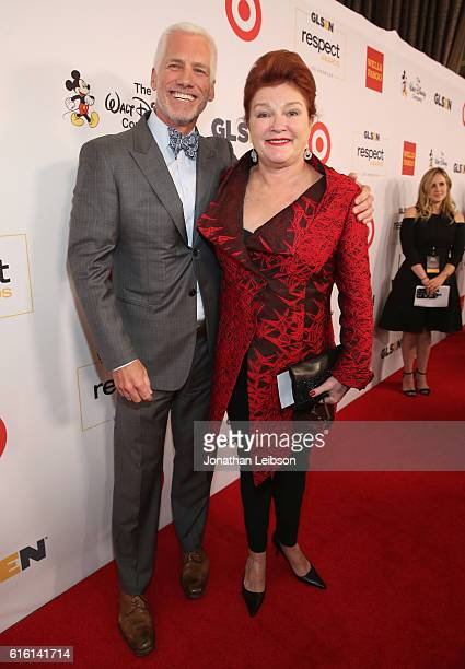 Disney's Kevin Brockman and actress Kate Mulgrew attends the 2016 GLSEN Respect Awards Los Angeles at the Beverly Wilshire Four Seasons Hotel on...