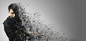 dispersion effect of asian man with leather cloth body shattering