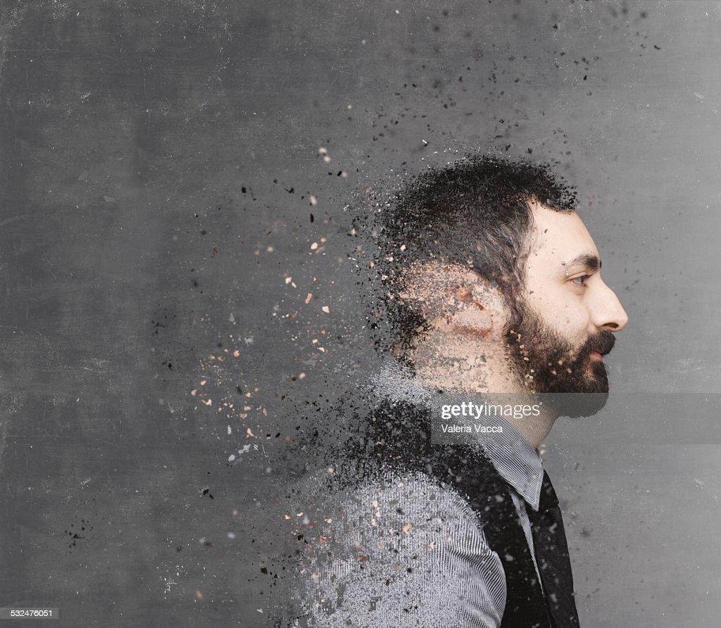 Dispersion portrait on chalkboard backdrop