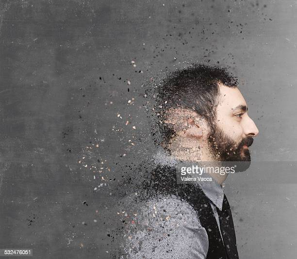 Dispersion portrait on chalkboard backdrop
