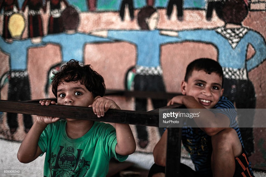 Displaced Palestinian at a UN school who lost relatives in an Israeli air strike on a compound housing a UN school in Jabalia refugee camp in the...