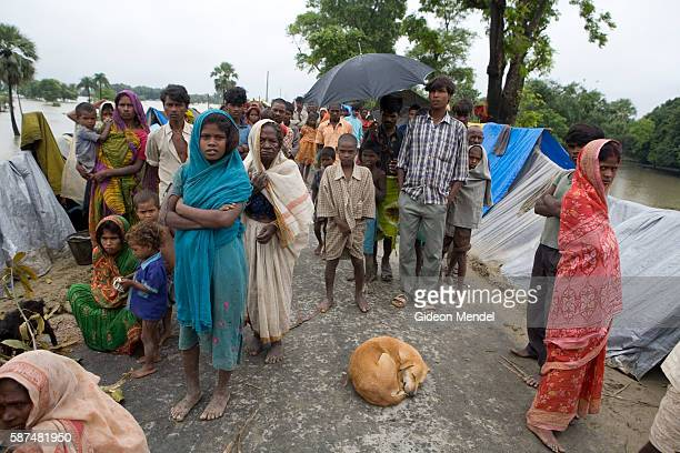 Displaced people attempt to continue their lives as they live in makeshift plastic shelters on a road embankment in east Champaran They had to flee...