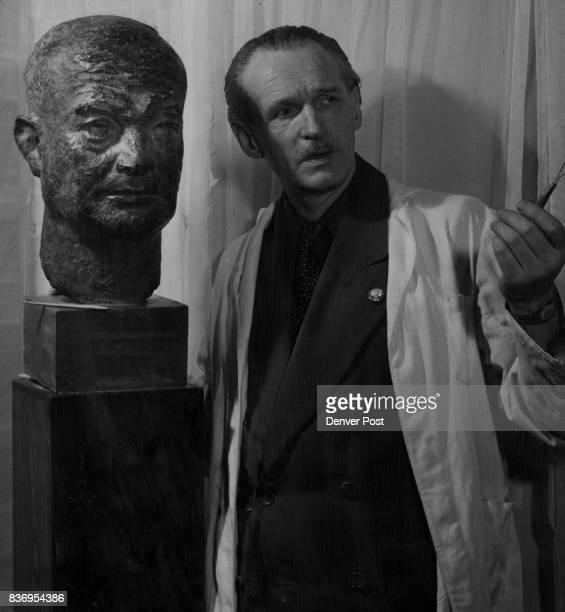 Displaced Persons Emil DE Brandeys Hungarian DP makes bust of Eisenhower Credit Denver Post
