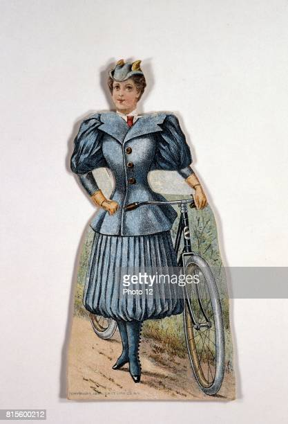 Display card showing ladies' cycling costume with accordionpleated divided skirt and sidebuttoning gaiters Made by Gosta Kraemer New York for Pope...