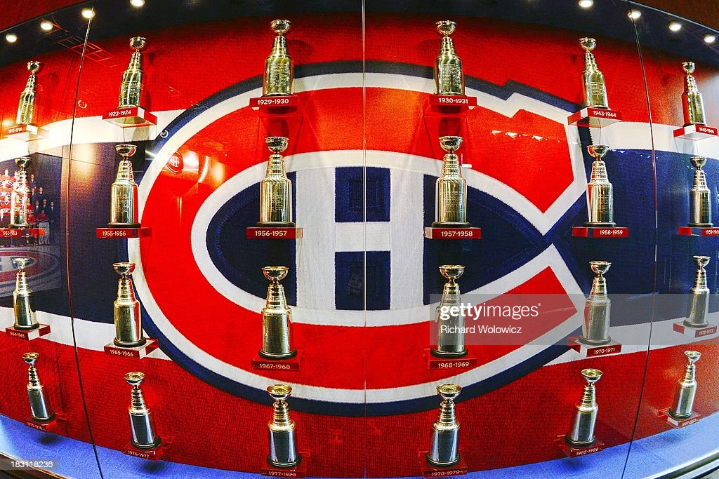 A display case outside of the Montreal Canadiens locker room commemorates the teams 24 Stanley Cup titles prior to the NHL game between the Montreal Canadiens and the Ottawa Senators at the Bell Centre on September 26, 2013 in Montreal, Quebec, Canada. The Canadiens defeated the Senators 3-1.