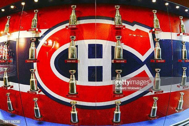 A display case outside of the Montreal Canadiens locker room commemorates the teams 24 Stanley Cup titles prior to the NHL game between the Montreal...