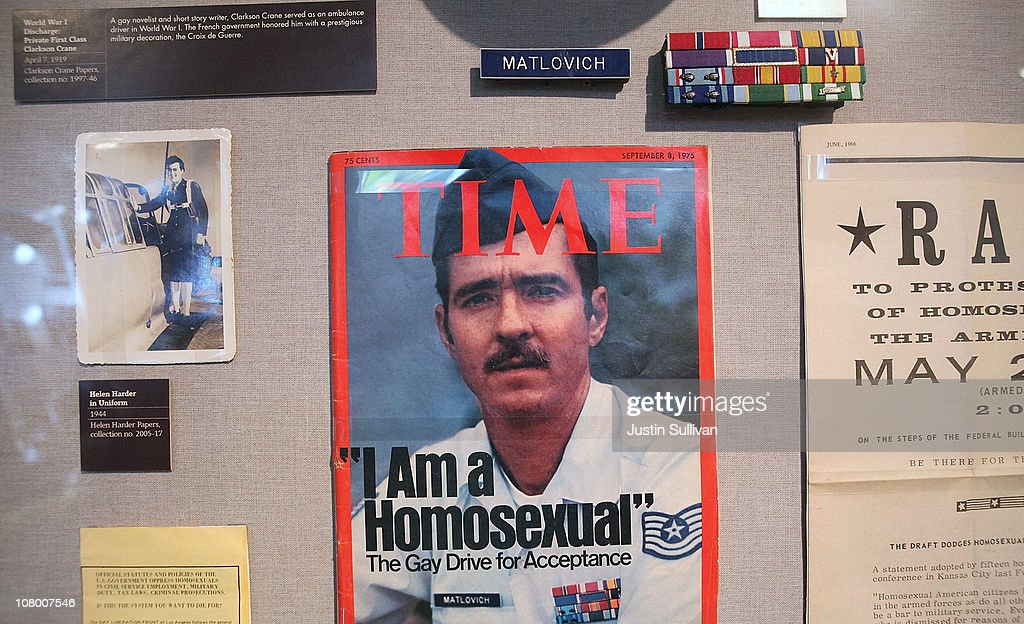 A display featuring Leonard Maltovich, the first gay service member to fight the ban on gays in the military, is seen during the grand opening of the Gay, Lesbian, Bisexual and Transgender History Museum on January 12, 2011 in San Francisco, California. The country's first gay history museum opened in San Francisco's Castro district today and features hundreds of items including Harvey Milk's megaphone, documents, a collection of sex toys and multimedia presentaions.