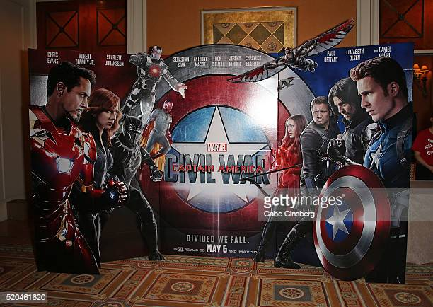 A display for the movie 'Captain America Civil War' at CinemaCon at Caesars Palace on April 11 2016 in Las Vegas Nevada