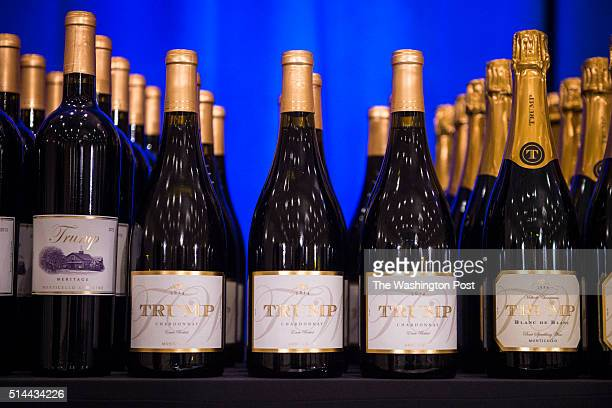 A display including Trump branded wine champaign water and steaks is seen before republican presidential candidate Donald Trump is expected to speak...