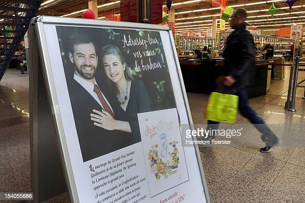 A display is seen in the Auchan shopping center as Luxembourg prepares for its Royal Wedding on October 12 2012 in Luxembourg Guillaume Hereditary...