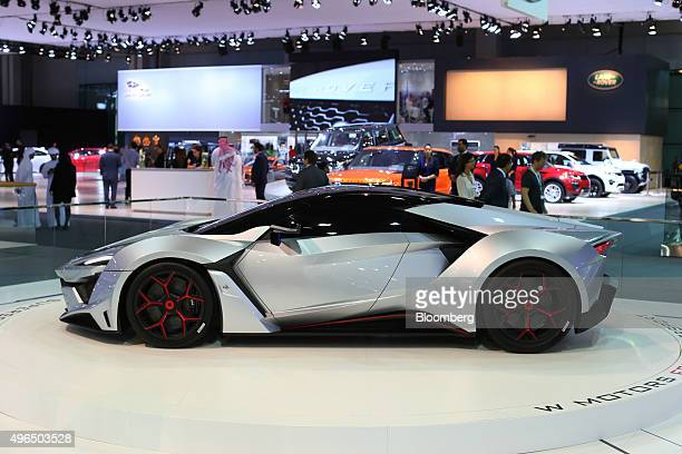 A display model Fenyr SuperSport super car manufactured by W Motors sits on display during the Dubai Motor Show at the World Trade Center in Dubai...
