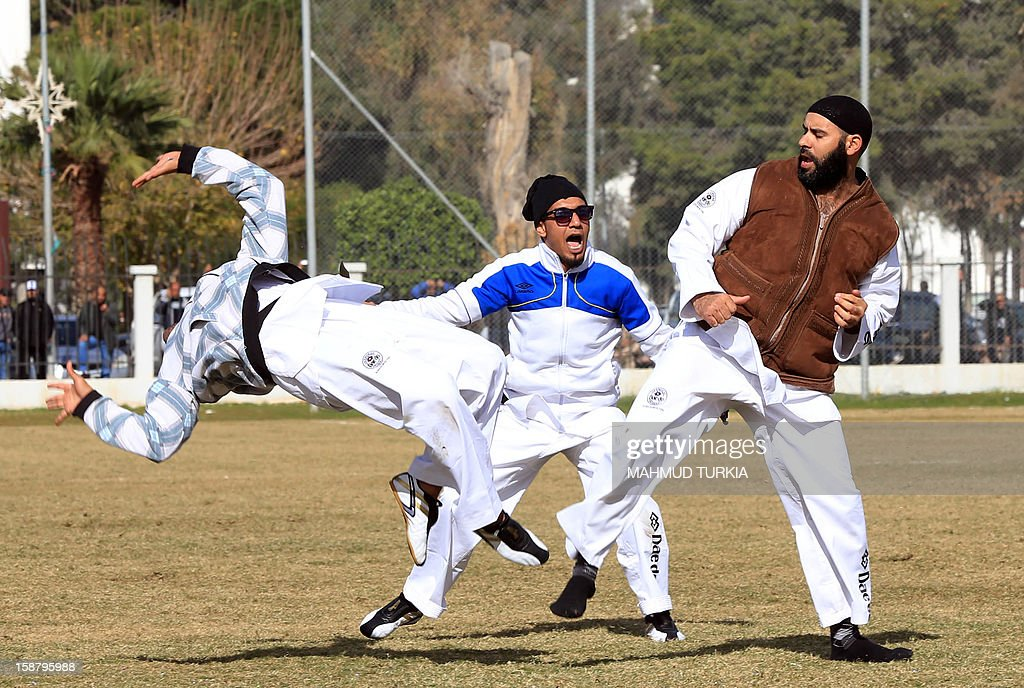 A display of a martial art if performed during a first sports festival to mark the 61st anniversary of Libya's Independence, in the capital Tripoli on December 29, 2012.