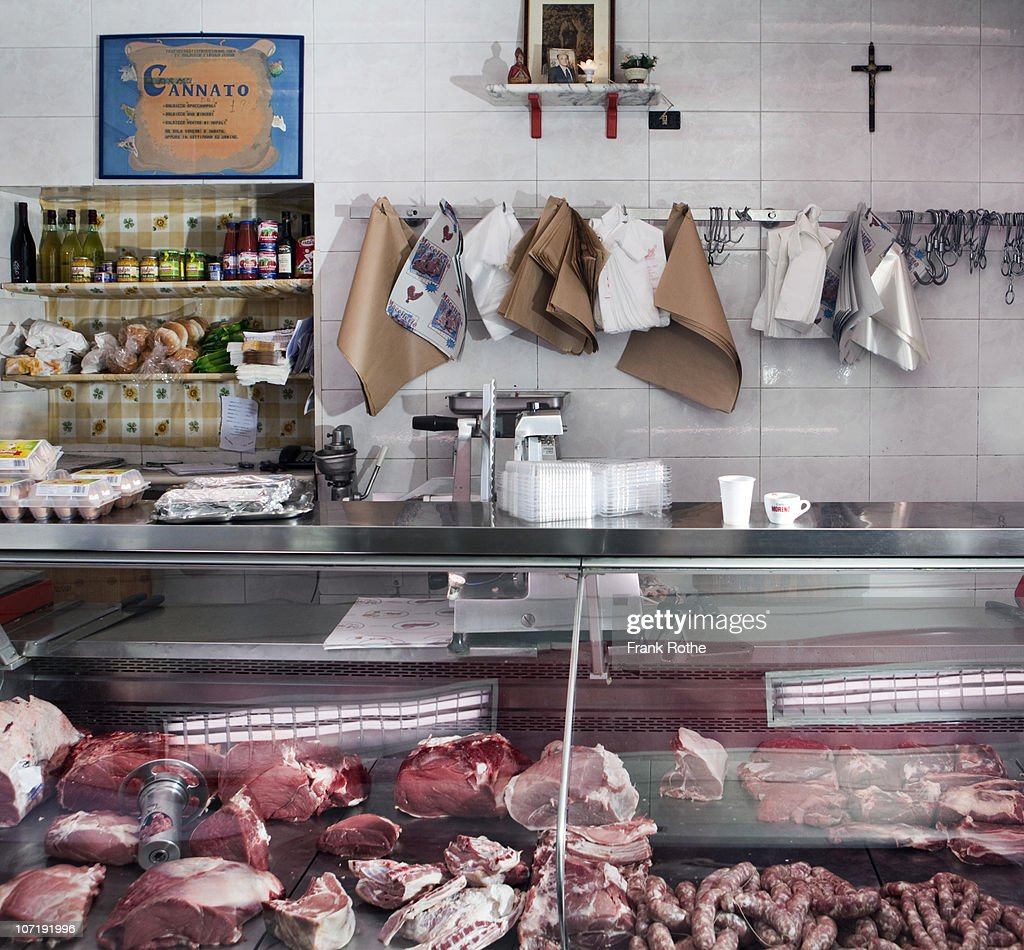 display of a small classical butcher shop  : Stock Photo