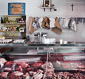 display of a small classical butcher shop