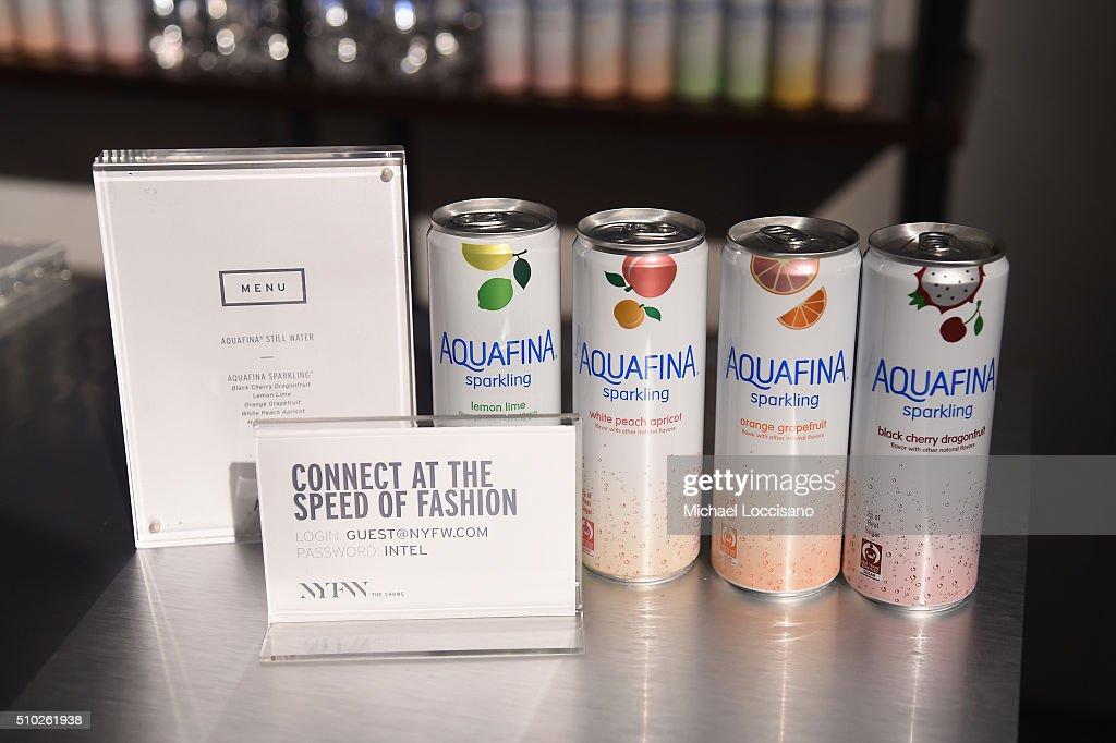 Display of Aquafina Sparkling Soda at Fall 2016 New York Fashion Week on February 14, 2016 in New York City.