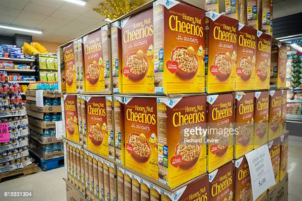 A display of boxes of General Mills Honey Nut Cheerios breakfast cereal in a supermarket in New York on Saturday October 10 2015 General Mills...