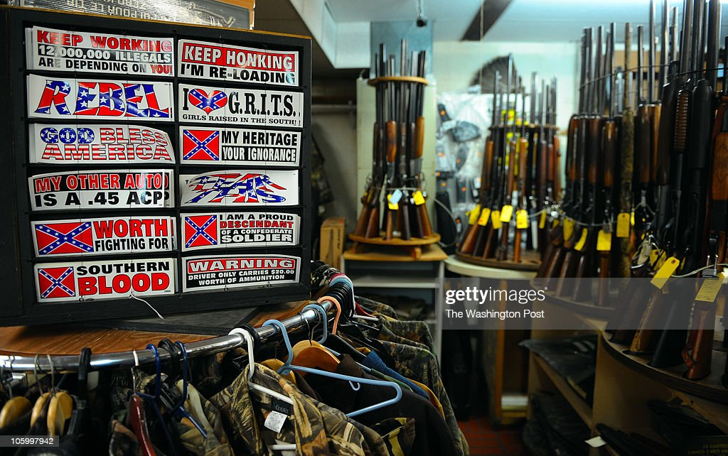 A display of Confederate themed bumper stickers sit on a display at Bob Moates Sport Shop on June 25, 2010 in Midlothian, Va.