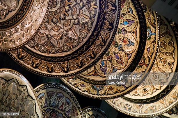 Display of copper plates at the Grand Bazaar, Istanbul Turkey
