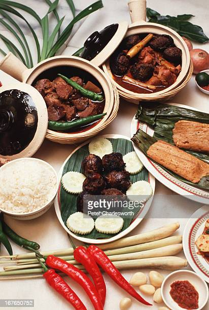A display of dishes at the Nonya and Baba restaurant Nonya food is a great example of Singapore's culinary diversity This cuisine is a marriage of...
