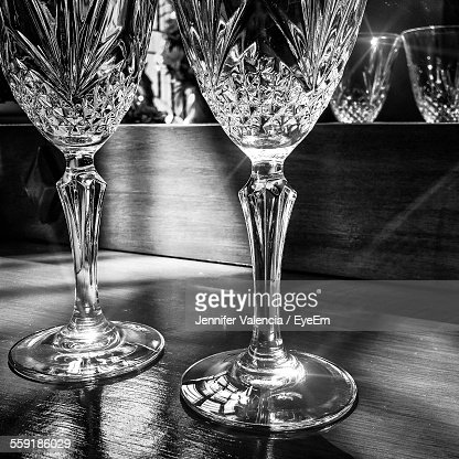 Display Of Empty Champagne Flute Crystal Glasses