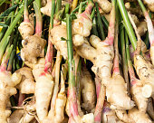 Display of fresh ginger root at the market