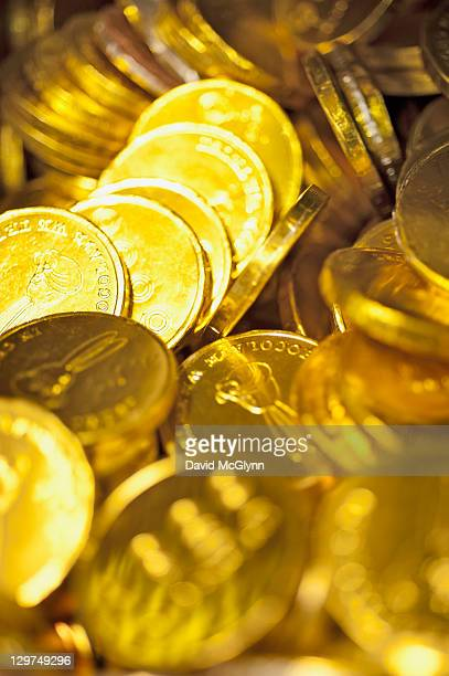 Display of Gold Foil Wrapped Chocolate Coins
