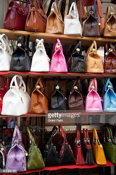 display of handbags for sale