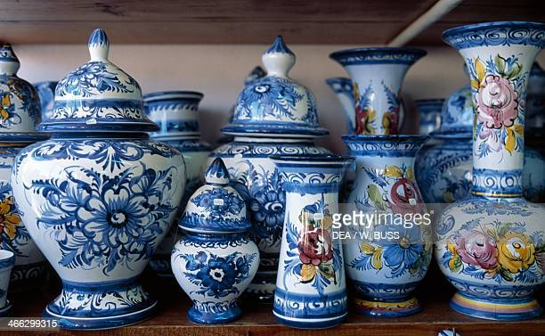 Display of handcrafted majolica vases and containers Nazare Portugal