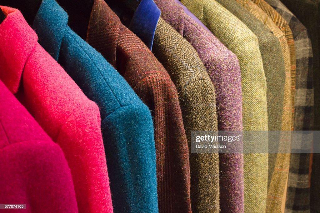 Display of Harris tweed jackets.