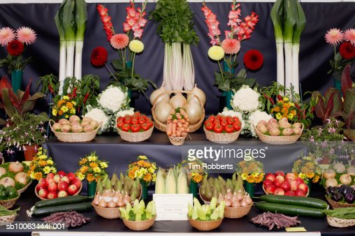 Display of home grown fruit and vegetables at agricultural show : Stock Photo