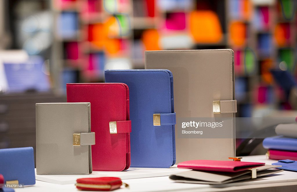 A display of leather Smythson card cases are displayed inside Harrods luxury department store in London, U.K., on Monday, June 24, 2013. Harrods, which has more than 1 million square feet (90,000 square meters) of selling space, isn't concerned about the outlook for spending on luxury goods, Harrods Managing Director Michael Ward said. Photographer: Jason Alden/Bloomberg via Getty Images