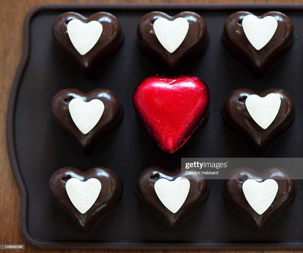 Display of love hearts chocolates : Stock Photo