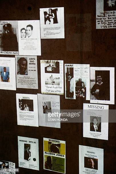 A display of 'missing people' posters that were hung around New York City after the September 11 2001 attacks on the World Trade Center seen during a...