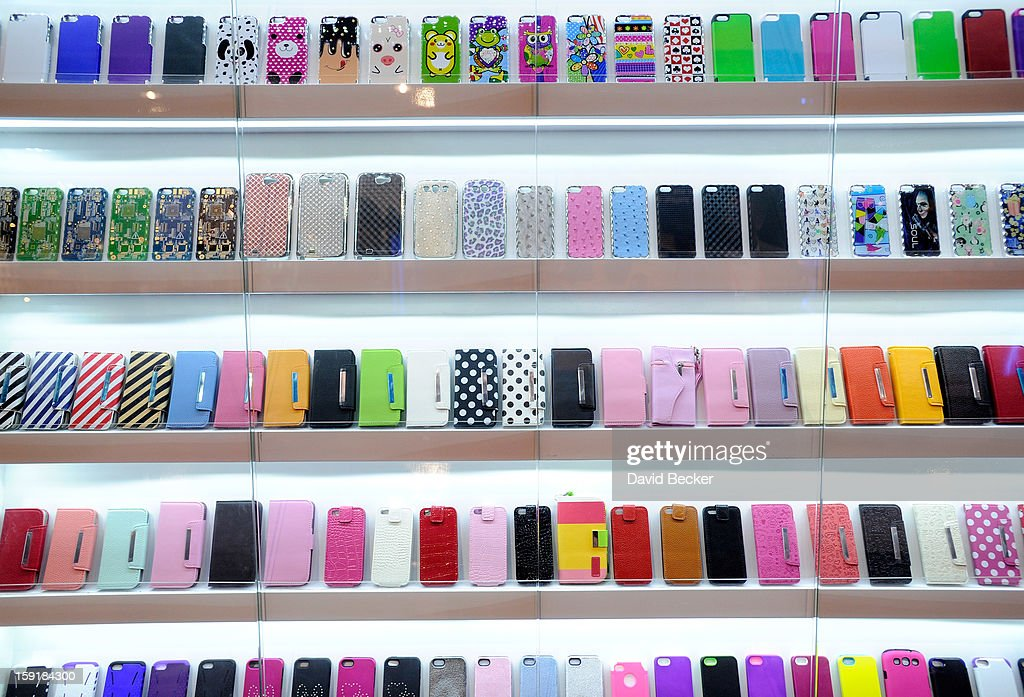 A display of mobile phone covers are seen at the 2013 International CES at the Las Vegas Convention Center on January 9, 2013 in Las Vegas, Nevada. CES, the world's largest annual consumer technology trade show, runs through January 11 and is expected to feature 3,100 exhibitors showing off their latest products and services to about 150,000 attendees.