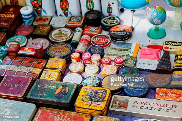 Display of old boxes at the antique market