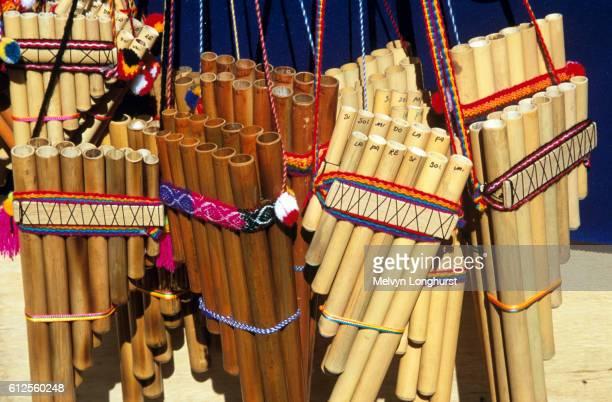 Display of panpipes on stall in market, Aguas Calientes, near Machu Picchu, Peru