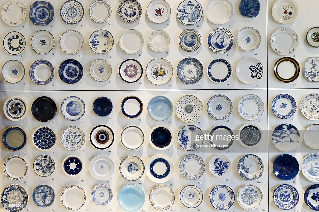 Display of porcelain plates at Rorstrand Museum. : Stock Photo