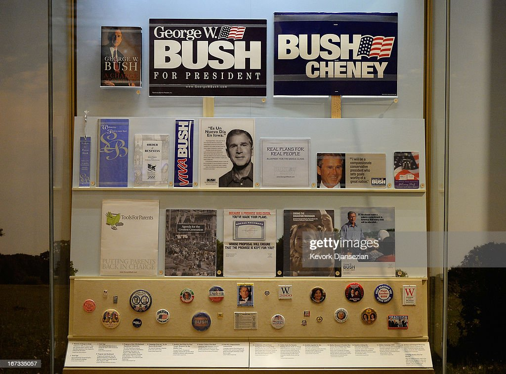 A display of presidential campaign memorabilia is seen at the George W. Bush Presidential Center on the campus of Southern Methodist University i seen on April 24, 2013 in Dallas, Texas. Dedication of the George W. Bush Presidential Library is to take place on April 25 with all five living U.S. Presidents in attendance and an expected 8,000 invitation-only guests.