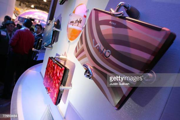 A display of Sony VAIO laptops is seen at the Las Vegas Convention Center during the 2007 International Consumer Electronics Show January 8 2007 in...