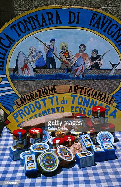Display of the tuna products available from Favignana, one of the Egadi Islands.
